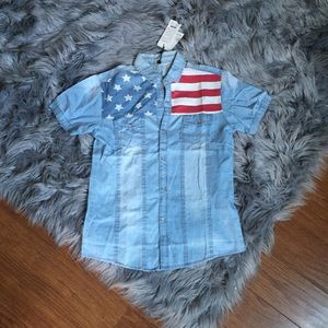 Other - NWT Stars & Stripes Button Down Shirt